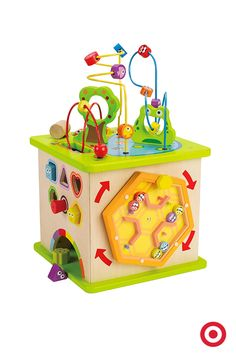 Mazes, shapes and levers, oh my! This Hape Toys Country Critters Play Cube is the perfect Christmas gift for your little one. Made of sturdy wood, this activity center features five sides of activity and bright, bold colors.