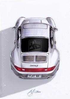 """""""Hindsight"""" - Porsche 993 illustration by Propellorhead - Hľadať Googlom Porsche 911 Cabriolet, Porsche 911 Targa, Porsche Carrera, Porsche Autos, Porsche Cars, Porsche Classic, Black Porsche, Porsche Wheels, Porsche Cayenne"""