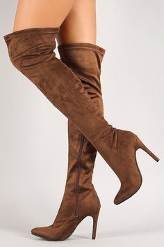 Breckelle Vegan Suede Stiletto Over-The-Knee Boot Ankle Boots, Thigh High Boots, High Heel Boots, Shoes Heels Boots, Over The Knee Boots, Heeled Boots, Bootie Boots, Botas Sexy, Stilettos