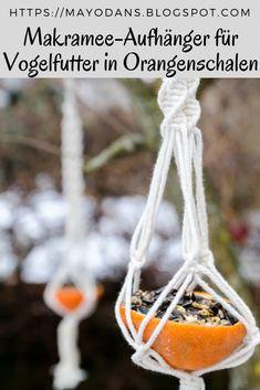 Bird food in orange peel with macrame hanger – decorideas
