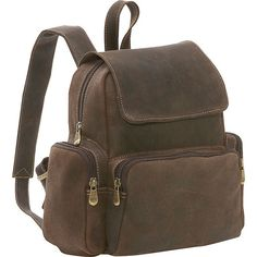 LeDonne Women's Distressed Leather Mini Backpack in Chocolate Brown