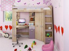 Rohová poschodová posteľ Antresola (L) Sonoma + biela (s roštom) King Bedding Sets, Luxury Bedding Sets, Comforter Sets, King Comforter, Full Bunk Beds, Bunk Beds With Stairs, Modern Wood Desk, Armoire D'angle, Loft Bed Frame