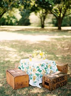 this is a great seating area for an outdoor wedding for cocktail hour and after party too. cute for a kid's table too.