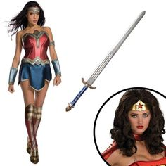 Wonder Woman Movie Wonder Woman Adult Costume Kit ($100) ❤ liked on Polyvore featuring costumes, halloween costumes, white halloween costumes, wonder woman costume, adult costume, white costumes and adult halloween costumes