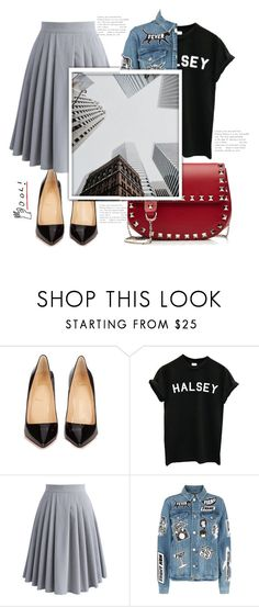 """Street"" by thais-santana-1 ❤ liked on Polyvore featuring Christian Louboutin, Chicwish, Frame and Valentino"