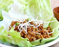 Chicken and shitake mushroom and water chestnuts lettuce wraps Uses oyster sauce (my fave asian condiment)!!