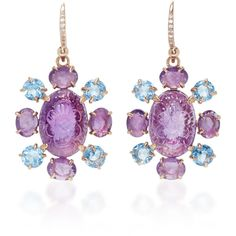 Bounkit Carved Amethyst and Blue Quartz Earrings (3.398.385 IDR) ❤ liked on Polyvore featuring jewelry, earrings, purple, carved jewelry, bounkit jewelry, earring jewelry, purple earrings and purple jewelry