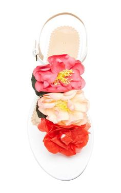 Rosario Floral-Embellished Leather Sandals by Charlotte Olympia Now Available on Moda Operandi