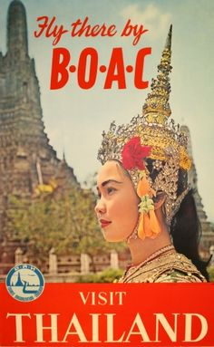 Original Vintage Posters -> Advertising Posters -> Thailand - Fly there by BOAC - AntikBar