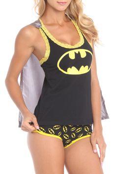 UnderGirl Batgirl Lace Trim Tank and Panties Set in Black - Beyond the Rack