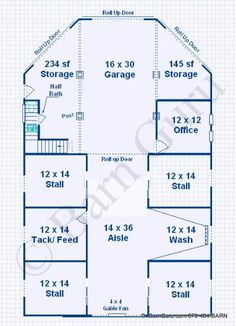 barn plans 4 stall horse barn living quarters design floor plan - Horse Barn Design Ideas