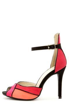 21372eb5098c1 Shoe Republic LA Vito Red Color Block Peep Toe Heels Gold Heels
