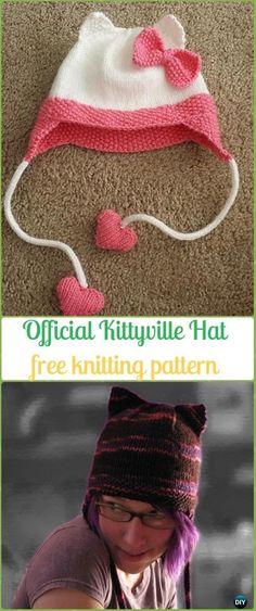 Knit Official Kittyville Hat Free Pattern - Fun Kitty Cat Hat Free Knitting Patterns