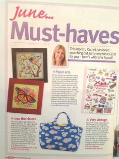 My 'Vintage Motifs' cross stitch book, on the 'Must-haves' page of Cross Stitch Crazy magazine, issue 203, June 2015.