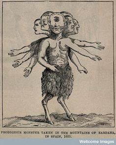 A fantastic monster: a cyclops with multiple heads and arms