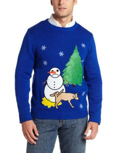 Christmas party craft idea - bring out the fabric, fabric glue, fabric paint tubes, and old sweaters [Amazon.com: Alex Stevens Men's Sad Snowman Ugly Christmas Sweater]