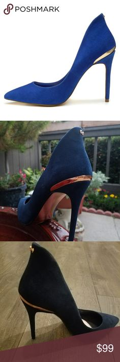 Ted Baker Savennier 2 Blue Suede Stilettos Flaunt your style for any occasion in these stunning stilettos. Gorgeous, soft blue suede upper. Pointed-toe silhouette. Signature rose-gold hardware detail with tiny bow at top of heel. True blue eye catchers! Pristine condition, worn once. Insoles inserted to cushion foot bed. Size marked 40, these fit like an 8.5. Ted Baker Shoes Heels