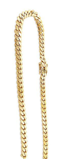 This Yellow Gold Miami Cuban Link Curb Chain is presented in 14K topped off with a professional bright polish for extra shine. This miami cuban link chain is 5.6 mm wide, and comes in different lengths from 22 inches to 40 inches long. This glitzy miami link chain is available in 14K white, yellow and rose gold and in different chain lengths.
