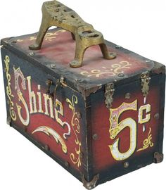 whimsical painted shoe shine box | 271: Hand painted shoe shine box folk art