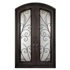 Iron Doors Unlimited 62 In X 82 Flusso Clic Full Lite Painted Oil Rubbed Bronze Hammered Wrought Prehung Front Door