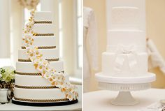 Wedding Cake Tasting Tips From GC Couture | A seven-tier round cake accented by sugar flowers and gold and black detailing is named in honour of pop singer Madonna. For brides and grooms who prefer a more understated design, a single delicate bow provides a simple yet sophisticated detail on the three-tier round Racquel cake.