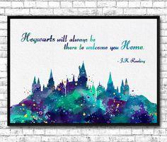 Hogwarts Castle 8 Quote Harry Potter Watercolor Art by ArtsPrint