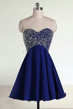 Beaded short prom dress sweetheart blue prom by chiffonbridal