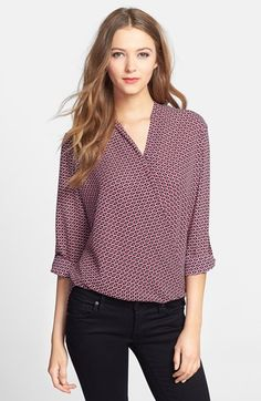 Faux wrap printed top. Pairing it with jeans, pencil skirt, or a suit.