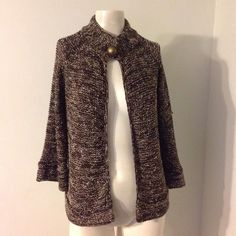 BCBG Maxazria Brown Print Cardigan Sweater S M Cute BCBG sweater. Marked M but runs a little small. BCBGMaxAzria Sweaters Cardigans
