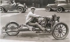 Home made Indian trike..  Pictured here is a tricycle created by Gale Lockhart from Los Angeles, California.  It was constructed from junk parts and assembled on the frame of a Model T.  Top speed: 63 miles per hour. Cost: $18.
