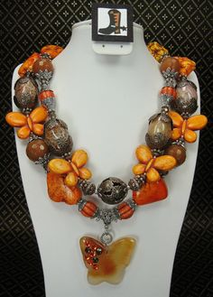 ORANGE HOWLITE & Agate BUTTERFLY Chunky by CayaCowgirlCreations, $63.50