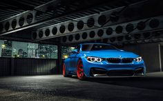 Download wallpapers tuning, BMW M4, F82, supercars, parking, blue M4, german cars, BMW