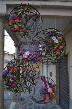 Package & Size: Set of 2 floral hoop wreaths. The floral hoops are diameter. Art Floral, Design Floral, Deco Floral, Ikebana, Deco Nature, Silk Flowers, Garden Art, Grape Vines, Flower Designs