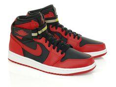 Nike Air Jordan AJ 1 High Strap Black Gym Red - RMKstore / ain't a gs but whatsoever. Jordan Aj 1, White Brand, Shoe Boots, Shoes, Nike Air Force, Air Jordans, Sneakers Nike, Brand New, Gym