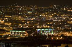 Saint-Etienne, ma ville natale, et le mythique stade Geoffroy-Guichard, temple du frisson footballistique. Saint Etienne, Temple, Saints, Spaces, World, Travel, Cauldron, City, Viajes