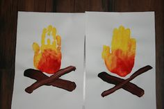 Camping Theme for Preschool/Daycare - Hand print campfires. cute for cowboy or camping theme! Kids Crafts, Daycare Crafts, Toddler Crafts, Preschool Crafts, Arts And Crafts, Bonfire Crafts For Kids, Campfire Songs For Kids, Bonfire Night Activities, Bonfire Night Crafts