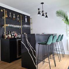 French Bistro Glass and Brass Bar Shelves Custom | Etsy Home Bar Rooms, Office Bar, Office Desk, Modern Bar, Modern Home Bar Designs, Living Room Bar, Custom Shelving, French Bistro, Wine And Liquor
