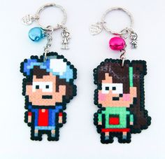 Gravity Falls - Dipper and Mabel - Keychains hama perler beads by Wind-UpLadybug