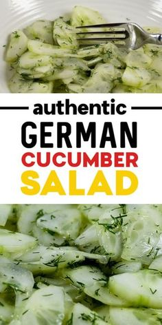 This authentic German Cucumber Salad was a childhood favorite of mine. The recipe is exactly how my German Oma used to make it. Refreshing, sweet, and juicy. It's perfect as a side salad for loads of dishes. German Cucumber Salad, Creamy Cucumber Salad, Cucumber Recipes, Chicken Salad Recipes, Recipes For Cucumbers, Recipe For Cucumber Salad, Chicken Salads, Keto Chicken, Roast Recipes
