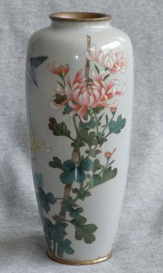Antique Japanese Cloisonné Enamel Vase with Bird
