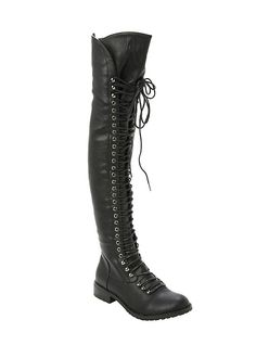 BLACK LACE-UP PU BOOTS Take your boot game to new heights with these black faux leather boots with lace-up and zipper closure. longMan-made materialsImportedListed in women's sizes Black Lace Up Shoes, Black High Heels, Black Laces, Lace Up Boots, Black Boots, Leather Boots, Fur Boots, Crazy Shoes, Me Too Shoes