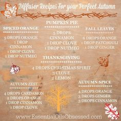 Young Living Essential Oil Diffuser Recipes for your Perfect Autumn!!!