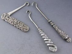 Victorian Sterling Silver Miniature Button / Shoe Hooks