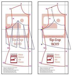 Patrón Costura Crop Top Baúl Costurera crear vuelo