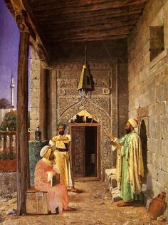 Lesson at The Mosque Door by Osmon Hamdi Bey