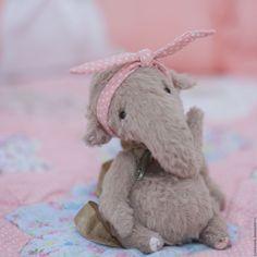Купить Слоник тедди Агаша - коричневый, розовый, слоненок, слоник в подарок, позитивный подарок, улыбка