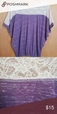 Full Tilt purple to with lace  L Lace across the shoulders,  elastic hem,  dolman sleeves Full Tilt Tops