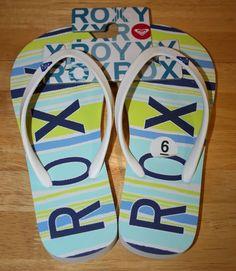 500eb83bb6d ROXY WOMEN S SIZE 6 FLIP FLOP SANDALS LIGHT TONED WHITE STRAP BEACH WEAR   Roxy
