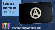 La bandera anarquista de fondo negro, con el símbolo de la A circulada que representa el símbolo del equilibrio del orden natural que no necesita dirección o gobierno central. Usada comúnmente por organizaciones, federaciones y sindicatos libertarios. Diseño exclusivo de La Tienda Republicana, de gran calidad, con un tamaño perfecto para manifestaciones 150X90cm.