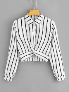 Promo Offer ROMWE Womens Tops and Blouses Long Sleeve Ladies Casual Crop Top Half Placket Female Shirts Summer Twist Front Striped Blouse Cheap Blouses, Shirt Blouses, Ladies Blouses, Crop Top Outfits, Spring Shirts, Long Blouse, Women's Dresses, Romwe, Blouse Designs
